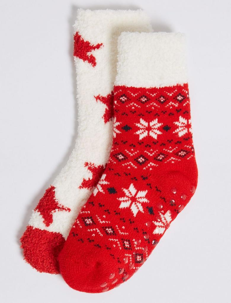 Kırmızı 2'li Fairisle Desenli Çorap Seti