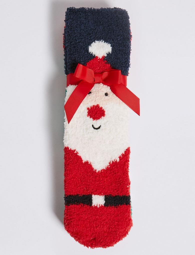 Kız Çocuk Multi Renk 2'li Noel Baba Desenli Çorap Seti