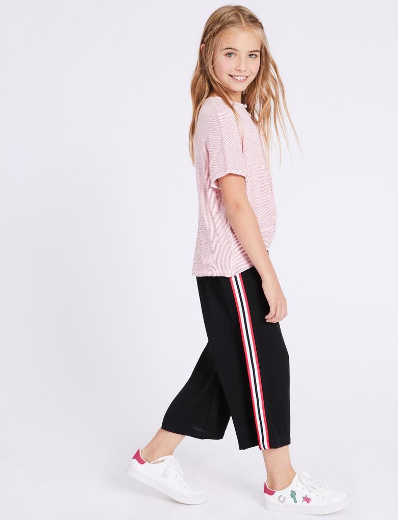 Kız Çocuk Siyah Çizgili Bol Paça Pantolon