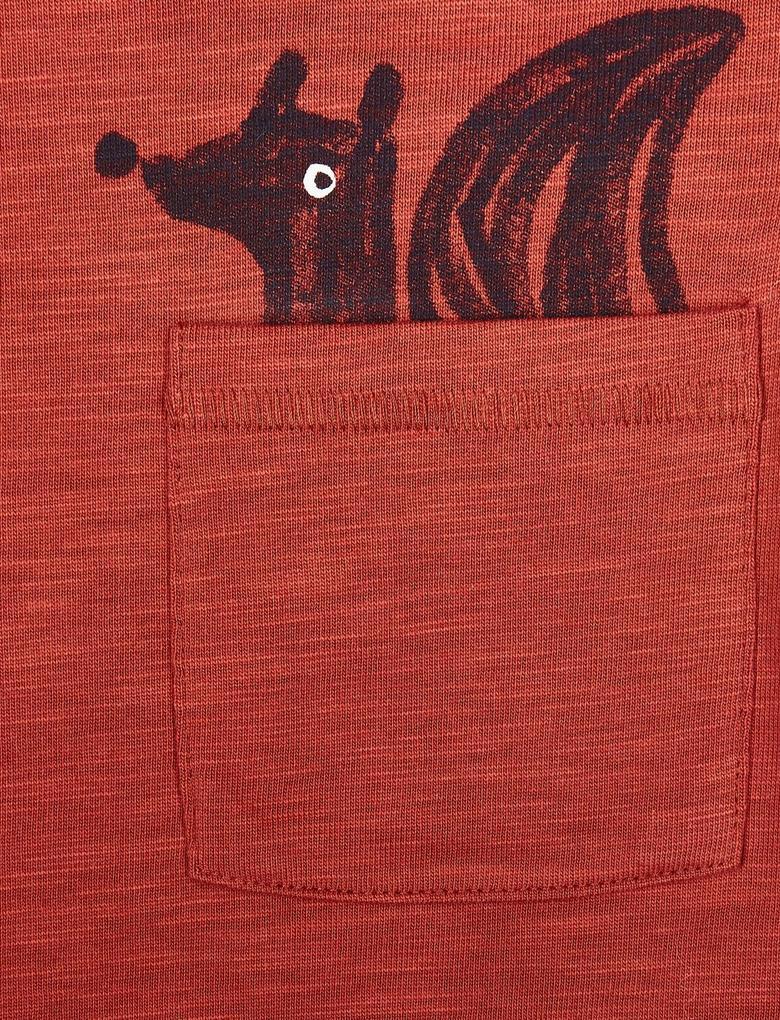 Kırmızı 2 Parça Sincap Desenli Üst ve Eşofman Altı Takımı