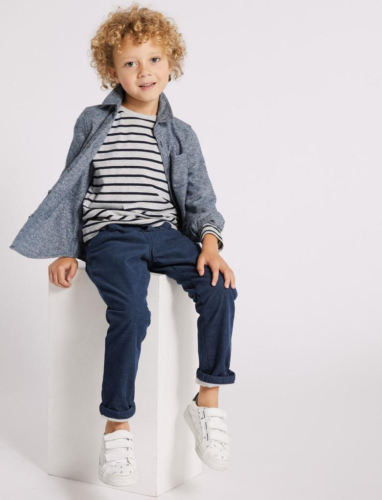 Erkek Çocuk Lacivert Pamuklu Streç Pantolon