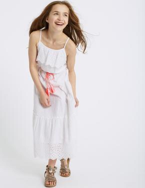 Saf Pamuklu Maxi Elbise