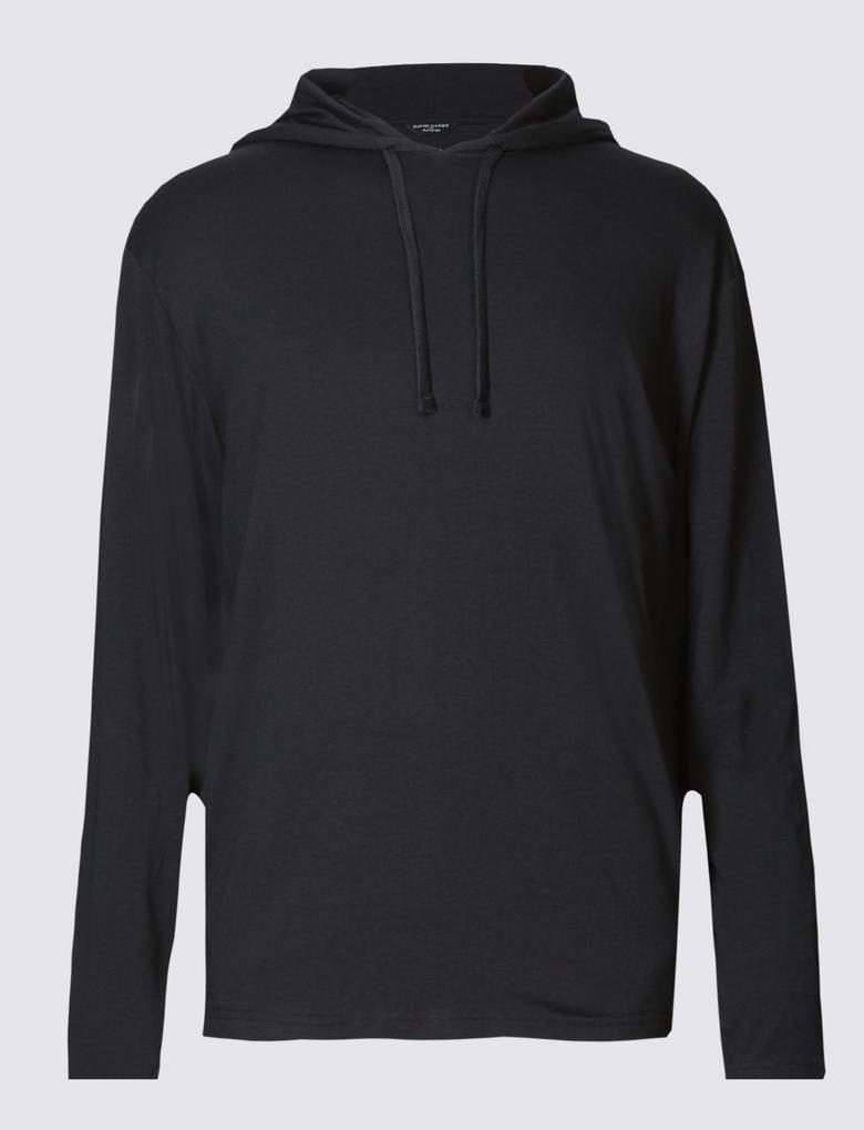 Erkek Supima® Pamuklu Kapüşonlu Sweatshirt