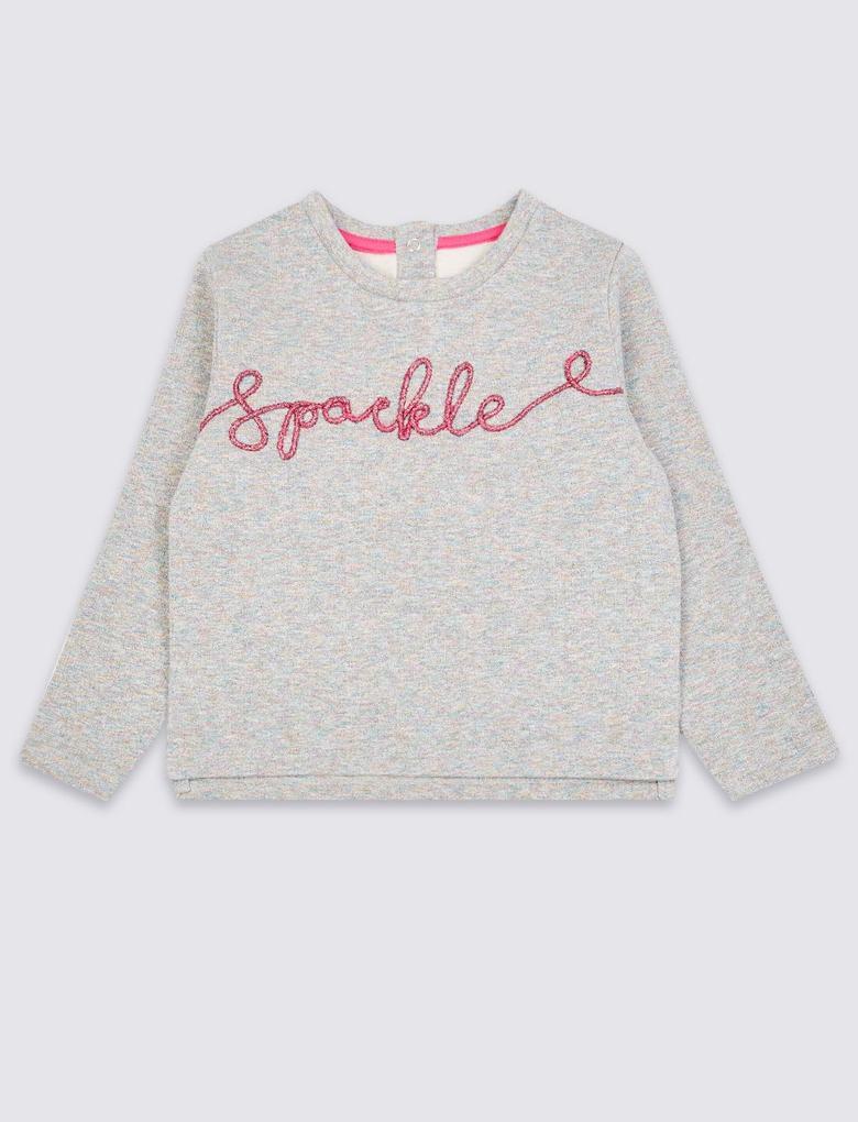 Gri Pırıltılı Sweatshirt