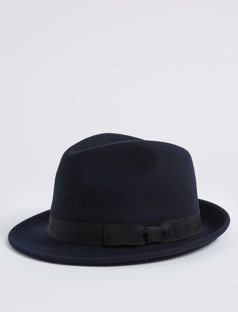 Lacivert Saf Yün Fötr Şapka