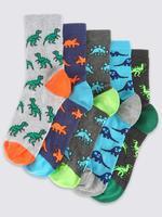 5'li Dinozor Desenli Neon Çorap Seti