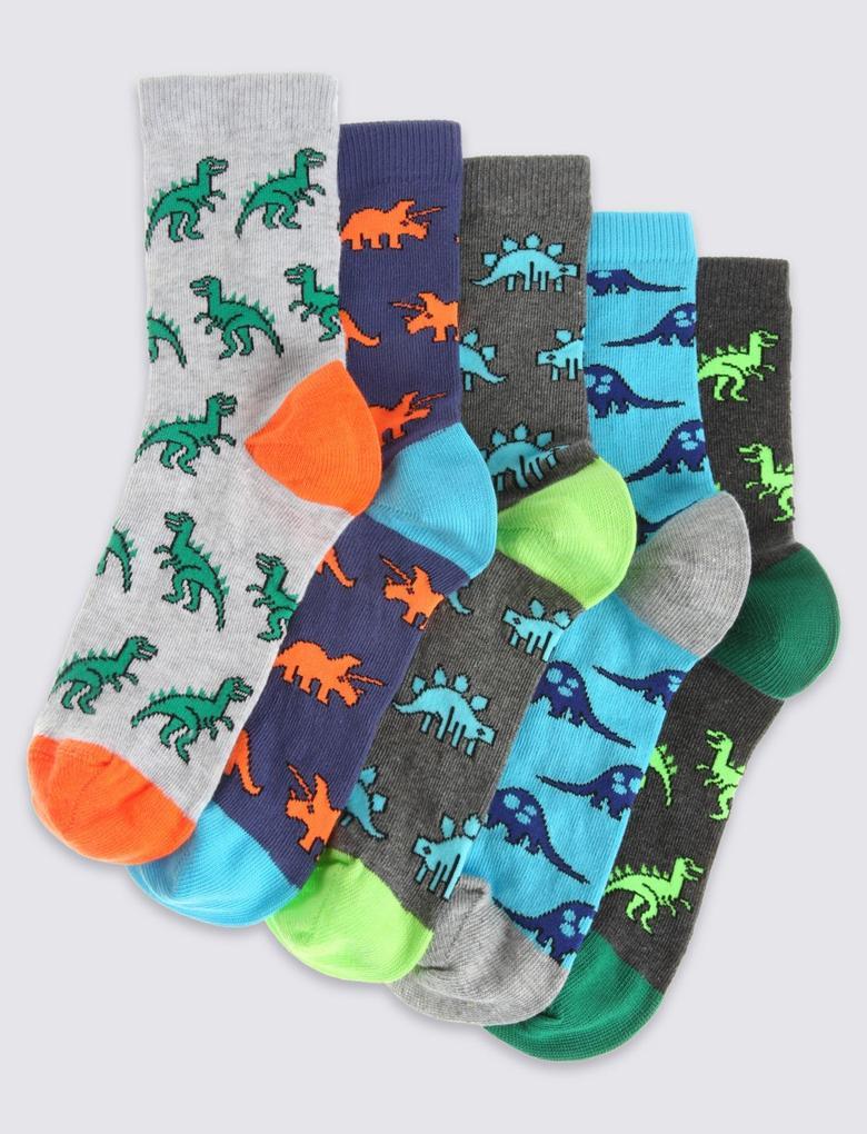 Mavi 5'li Dinozor Desenli Neon Çorap Seti
