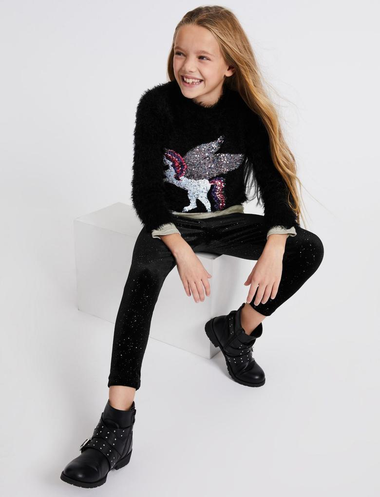 Pullu Unicorn Desenli Kazak
