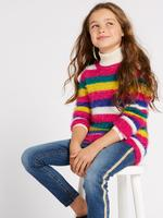 Kız Çocuk Multi Renk Çizgili Örgü Kazak