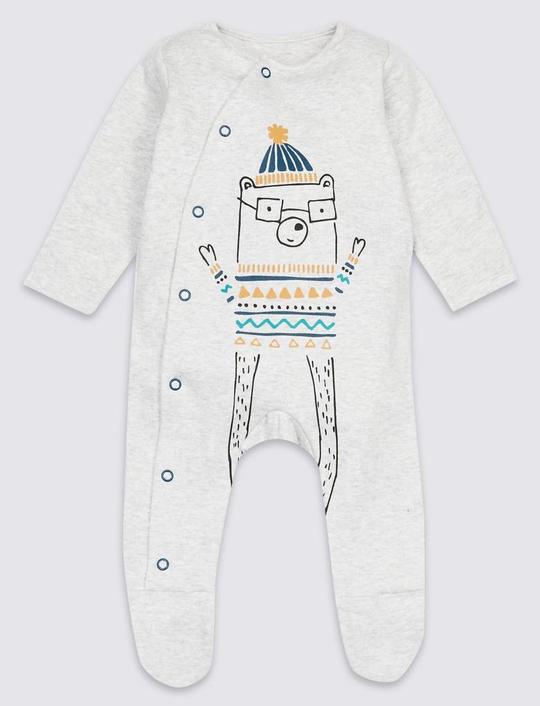 Gri 3'lü Saf Pamuklu Tulum Pijama