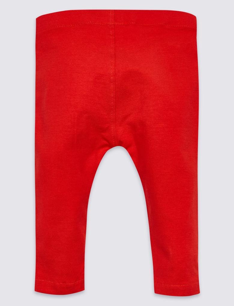 Kırmızı Pamuklu Geyik Desenli Streç Tayt