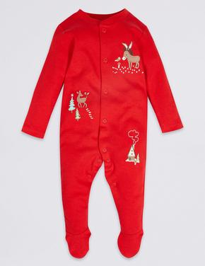 Kırmızı 2'li Saf Pamuklu Tulum Pijama
