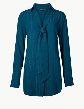 Yeşil V Yaka Uzun Kollu Bluz
