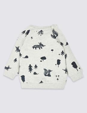 Pamuklu ve Streç Desenli Sweatshirt
