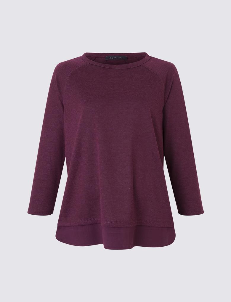 Kadın Mor Reglan Kollu Uzun T-Shirt