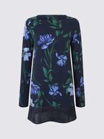 Lacivert Çiçek Desenli Uzun T-Shirt