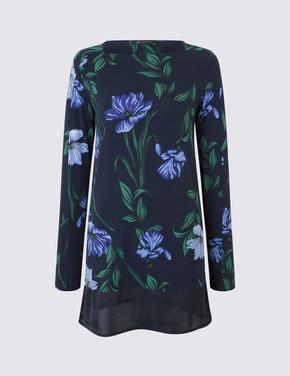Çiçek Desenli Uzun T-Shirt