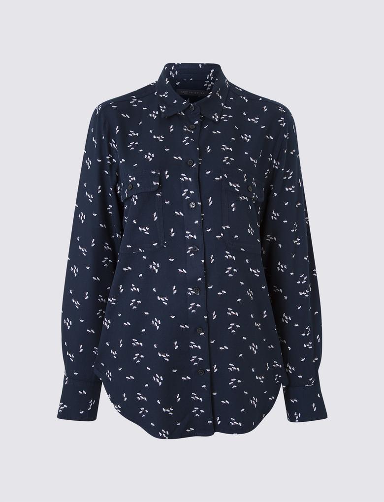 Kadın Lacivert Cepli Gömlek