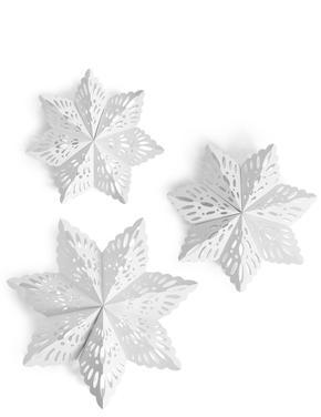 Beyaz 3'lü Kağıt Kar Tanesi Süsleri