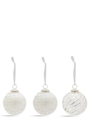 4'lü Gümüş ve Beyaz Cam Çam Ağacı Süsleri