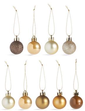 36'lı Altın Rengi Kırılmaz Cam Mini Çam Ağacı Süsleri