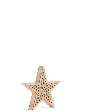 Işıklı Küçük Ahşap Yıldız