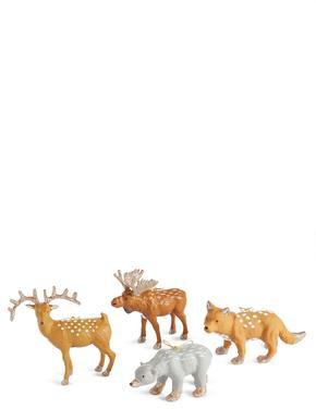 4'lü Orman Hayvanları Şekilli Çam Ağacı Süsleri
