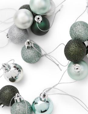36'lı Gümüş Rengi Kırılmaz Cam Mini Çam Ağacı Süsleri