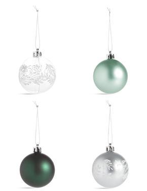 12'li Gümüş Yeşil Renkli Kırılmaz Cam Çam Ağacı Süsleri