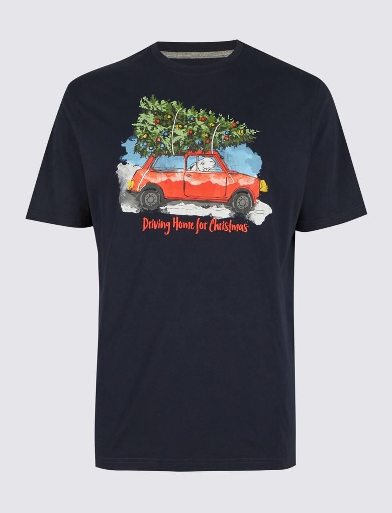 Saf Pamuklu Desenli Yuvarlak Yaka T-Shirt