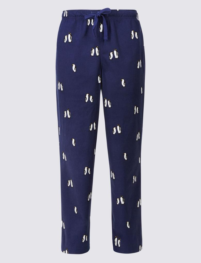 Desenli Yumuşak Kumaşlı Pijama Altı