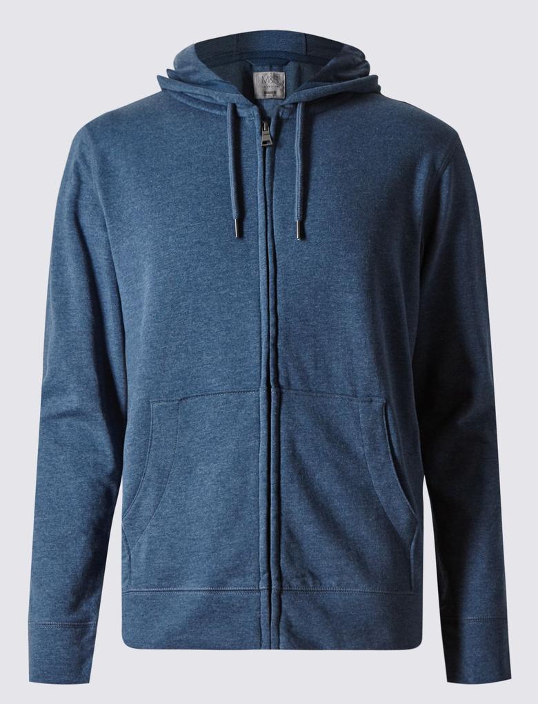 Mavi Pamuklu Kapüşonlu Sweatshirt