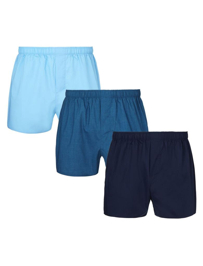 Mavi 3'lü Renkli Boxer Seti