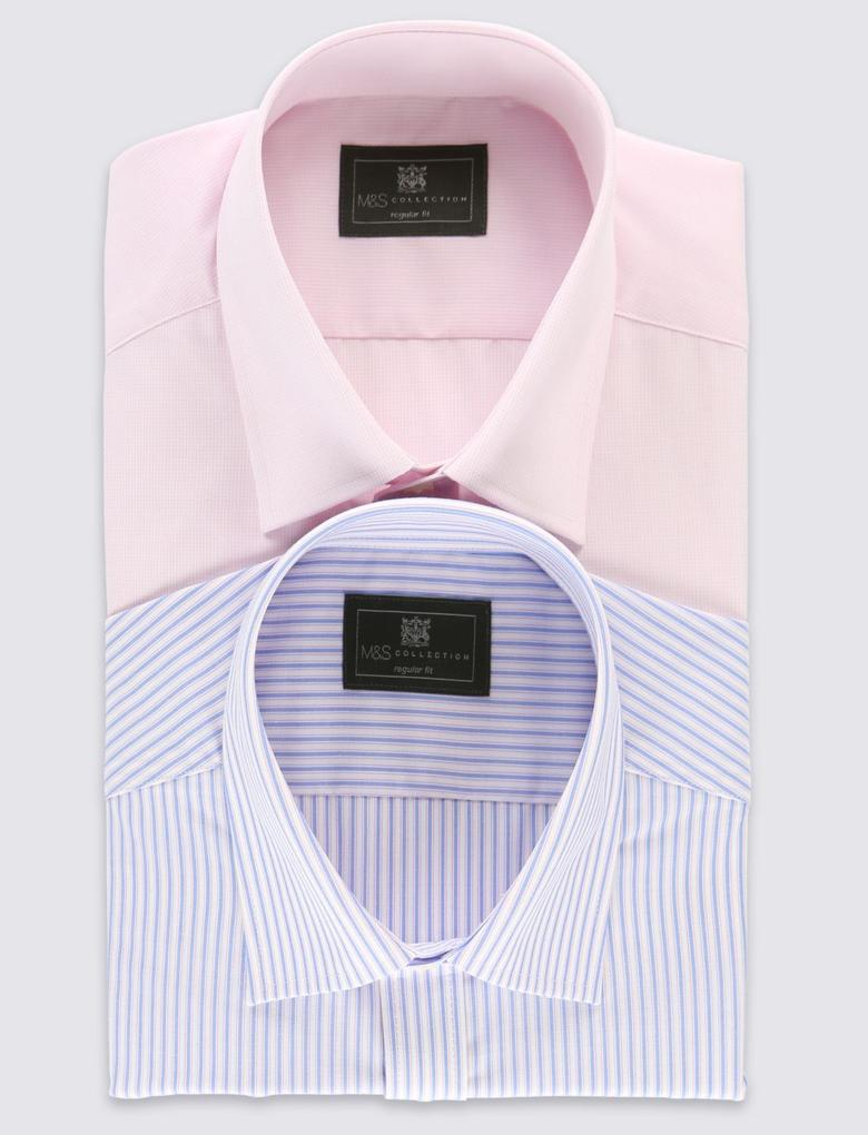 2'li Pamuklu Kolay Ütülenebilir Gömlek