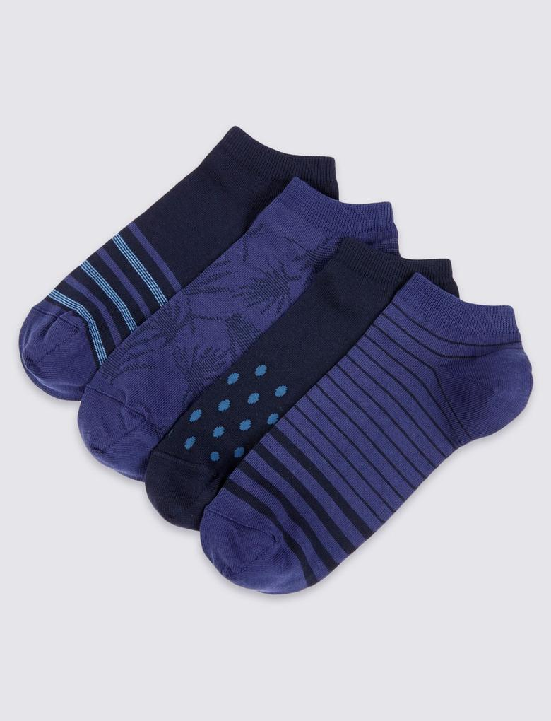 Lacivert 4'lü Pamuklu Çorap Seti (Cool & Freshfeet™ Teknolojisi ile)