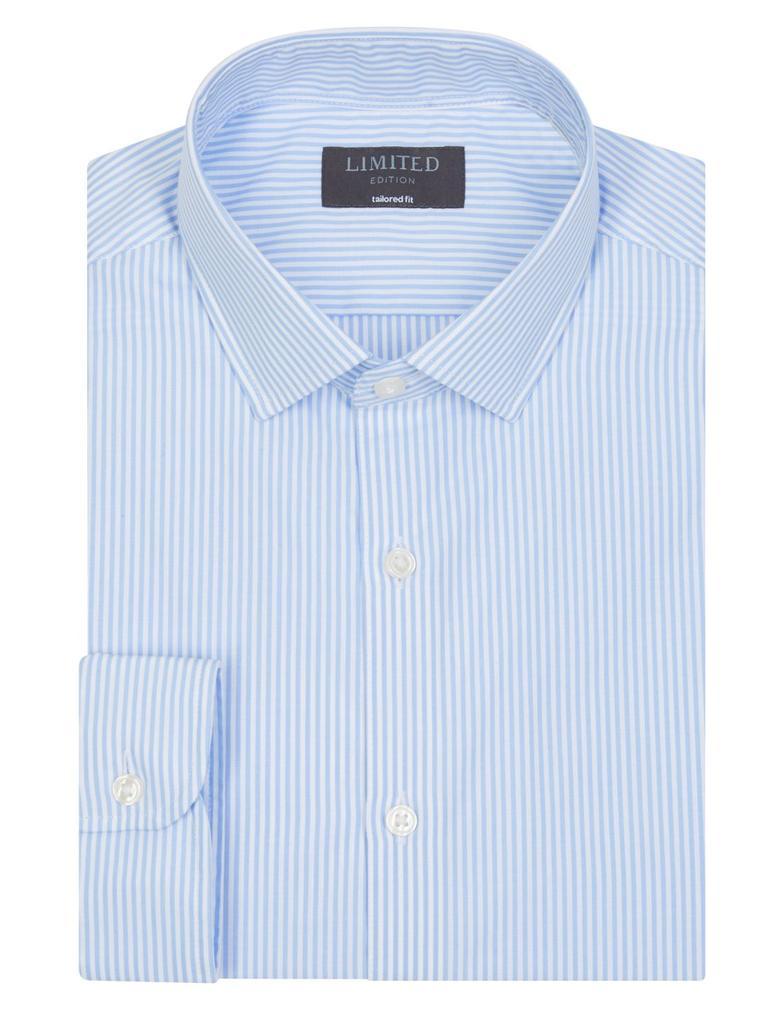 Mavi Saf Pamuklu Kolay Ütülenebilir Tailored Fit Gömlek