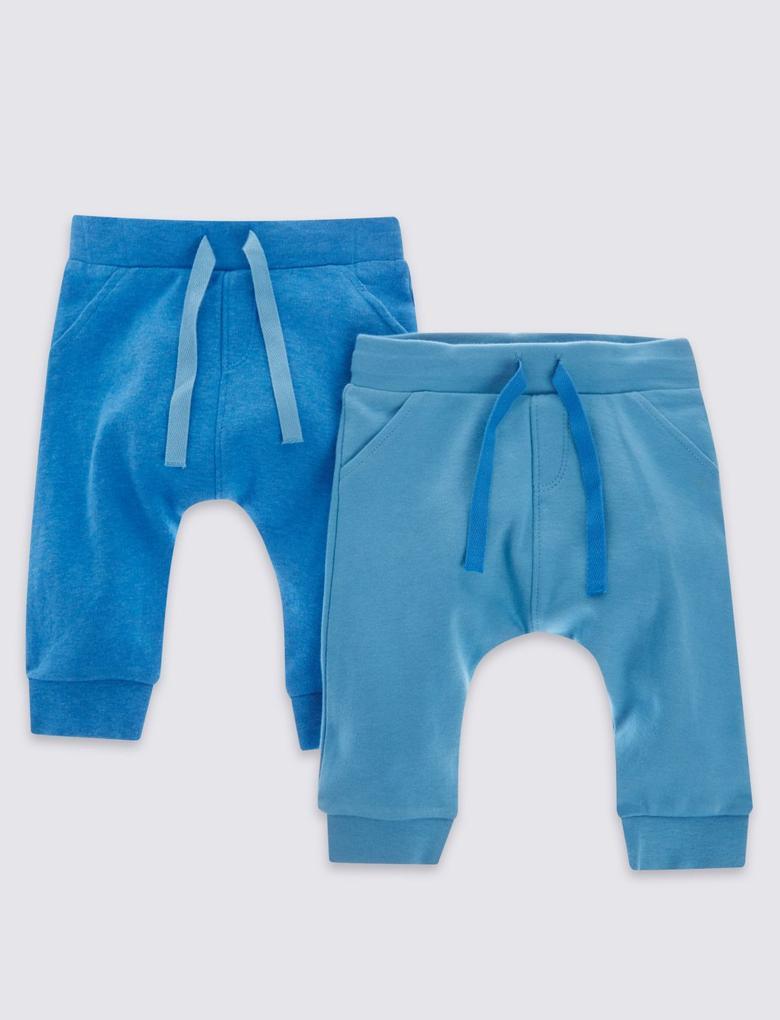 Mavi 2'li Saf Pamuklu Eşofman Altı