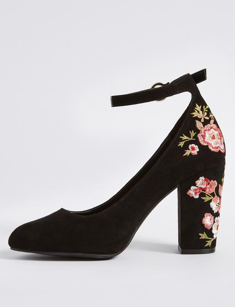 Siyah Kalın Topuklu İşlemeli Ayakkabı