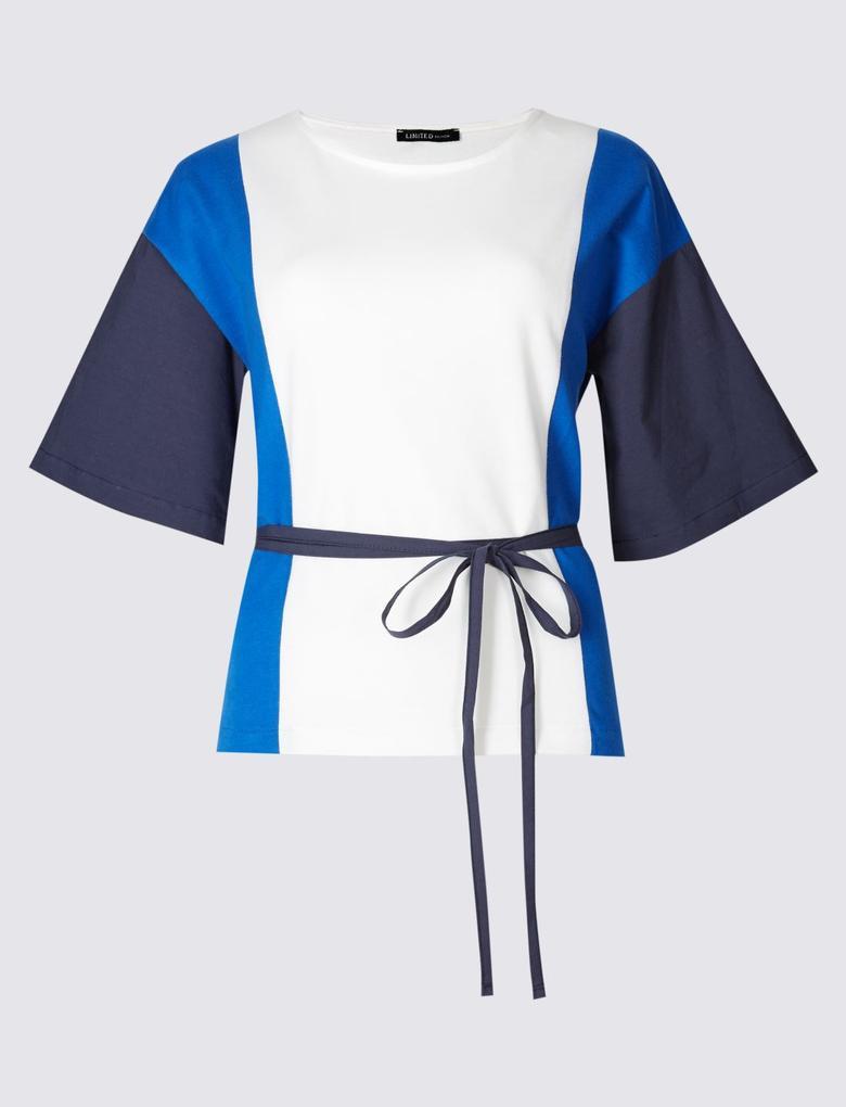 Bej Saf Pamuklu Kemerli Renkli T-Shirt