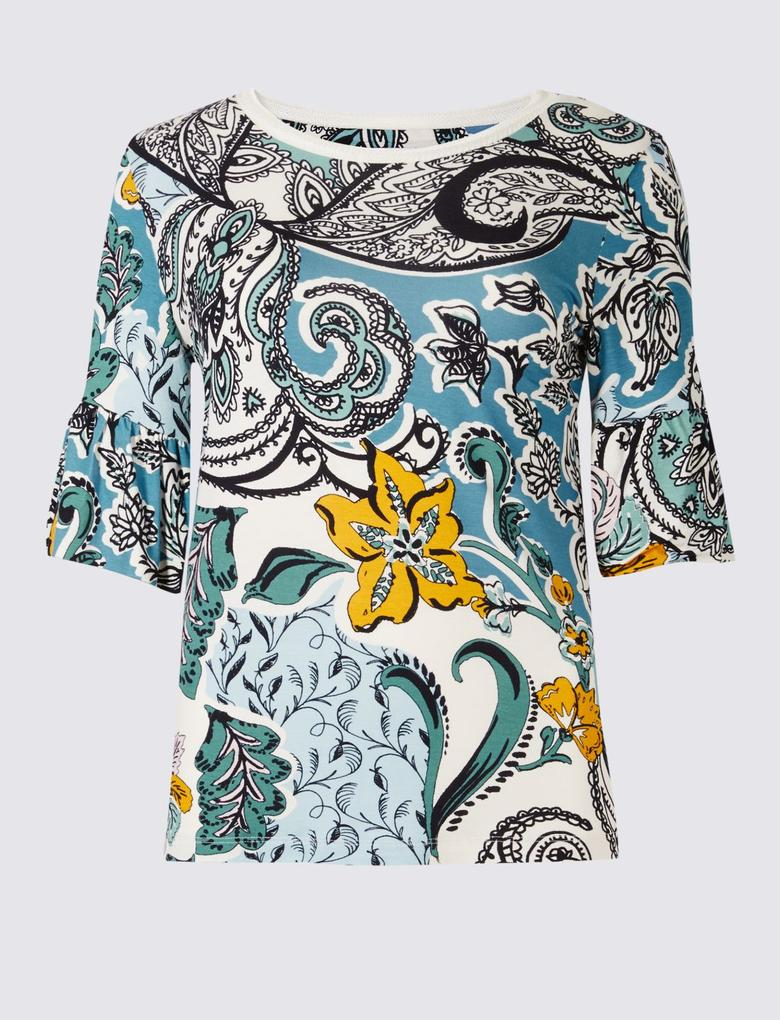 Desenli Kısa Kollu Volanlı T-Shirt