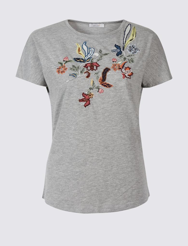 Gri Desenli Kısa Kollu T-Shirt