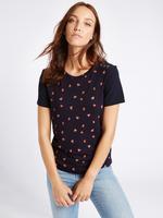 Lacivert Desenli Kısa Kollu T-Shirt