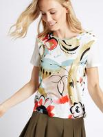 Bej Çiçek Desenli Kısa Kollu T-Shirt