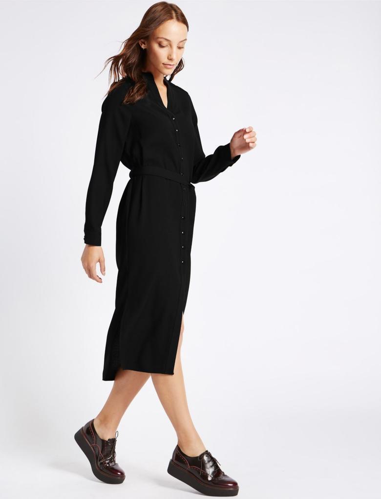 Kemerli Uzun Kollu Midi Elbise