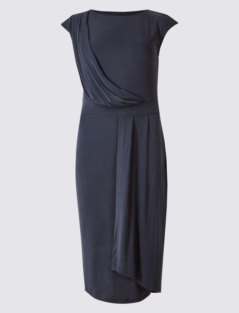 Drapeli Bodycon Midi Elbise