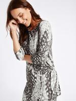 Gri Desenli Bodycon Midi Elbise