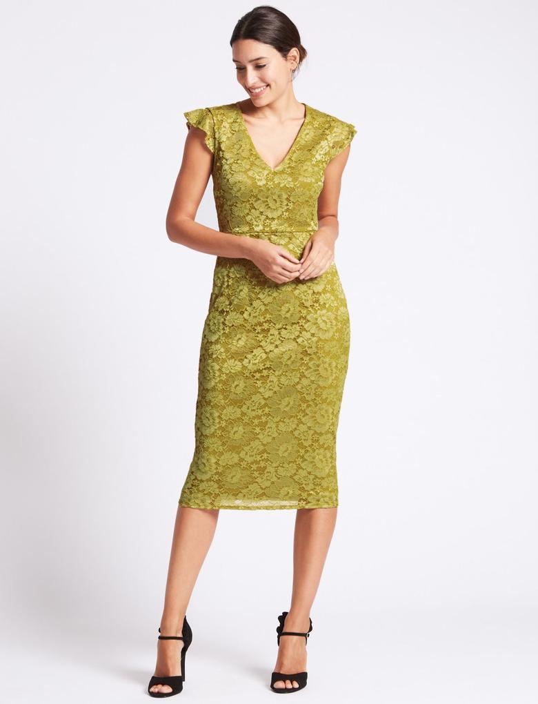 520b95fd9e417 Sarı Çiçek Desenli Dantel Elbise - T42003222U | Marks & Spencer