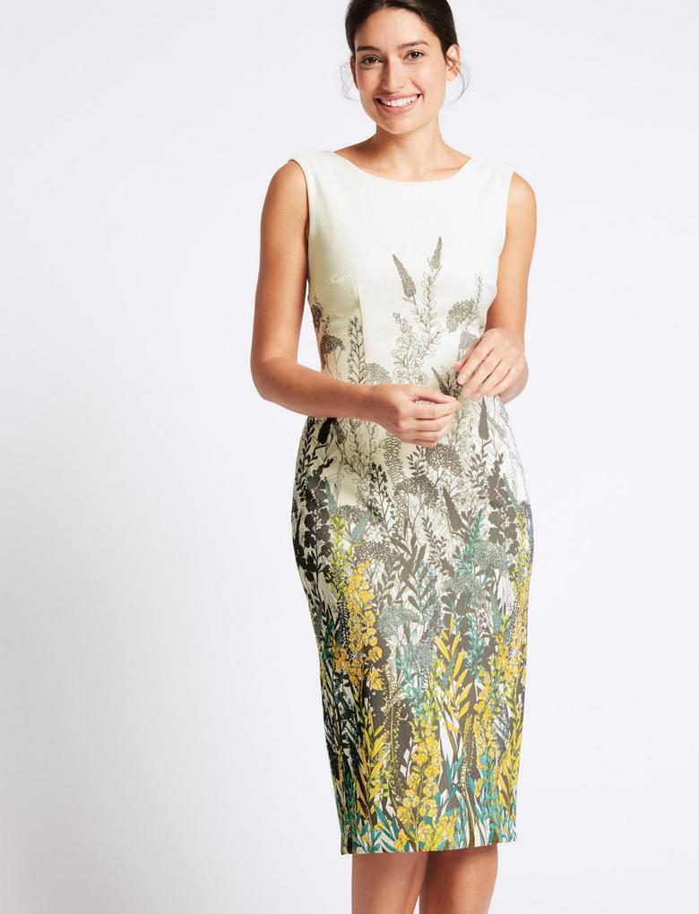 Bej Çiçek Desenli Bodycon Midi Elbise
