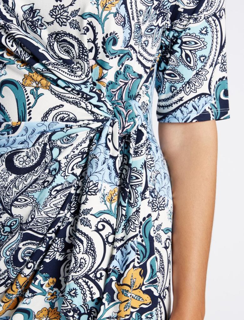 Desenli Midi Elbise