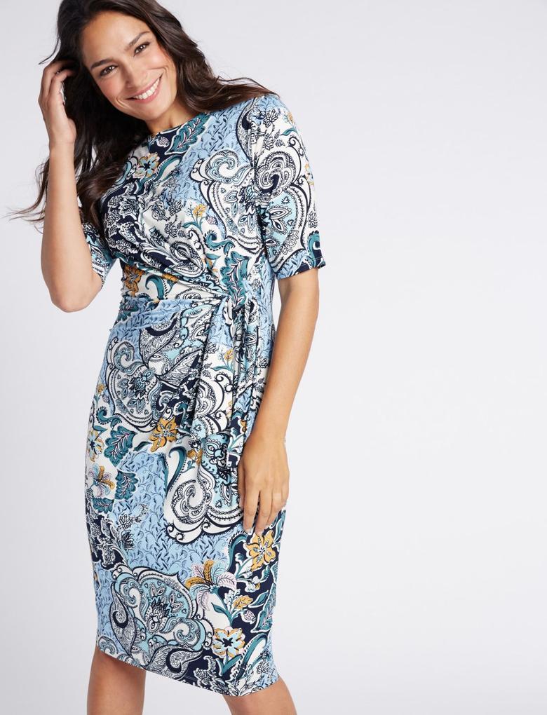 Mavi Desenli Midi Elbise